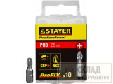 "Биты STAYER ""PROFI"", хвостовик C 1/4"", PH №3, 25мм, 10 шт"